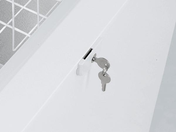 <strong>Slot met 2 sleuteltjes.</strong> Voorkomt ongewenst openen. Eenvoudige montage op het apparaat.